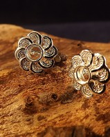Silver filigree Ear Stud For 4mm Stone
