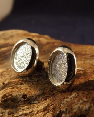Silver Cushion Edge Ear Studs For Mounting Stones