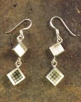 6mm Square Silver hanging 2 Stone Drop Earrings