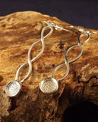 Long Twisted Wire Silver Celtic Drops For Mounting 6mm Stone