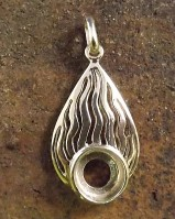 Silver flame Pendant Setting For 8mm Stone