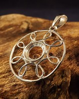 Silver wire Pendant Setting for 8mm cabochon