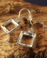 Silver Drop Earrings Square For 8x8 Stone