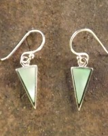 Small Silver Drop Earrings Set With Green Mother Of Pearl