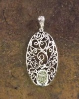Silver Filigree Pendant Setting For 8x6 Cabochon