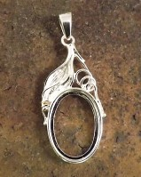 Unset Silver Pendant For 18x13 Cabochon