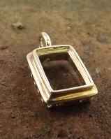 Silver Rectangular Unset Pendant For Setting 14x10 Gem Stone