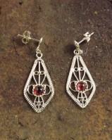 Silver Drop Earrings With Garnet Or Amethyst