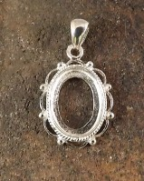 Frill And Bead Silver Pendant Cabochon Setting