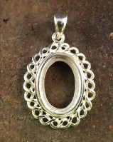 Scroll Edge Silver Pendant Setting  Cabochons