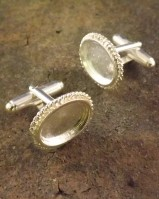 Rope Edge Cufflink To Set 14x10 Cabochon