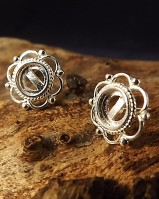 Silver Frill And Bead Ear Stud Setting For 6mm Stone