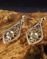 Silver Filigree Drop Earrings For Fitting 4mm Cabochon