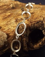Silver Bracelet Finding To Set Nine 14x10 Stones