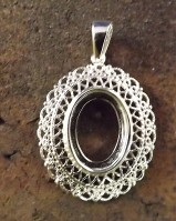 Silver  Fillagree style pendant For 14x10 Cabochon