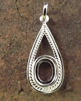 Beaded Tear Drop Pendant For Setting 10x8 Stone