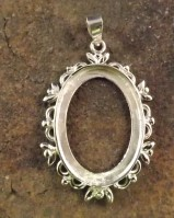 Silver Pendant Mount Unset For Stones and Cabochons