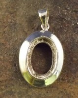 Plain Edge Silver Pendant Setting For Cabochon