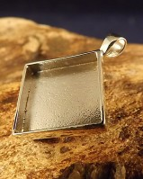 Silver Square Pendant Mount For Resin Or 14.5mm Stone