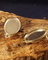 Plain Silver Clip On Earrings Ready to Set stones (for 10x8,14x10,18x13 Cabs)