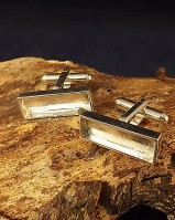 Silver Cufflink mounts For Resin Or To Set 22x7 Stone