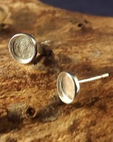 Heavy Silver Collet Style Earstud Round For Cabochon (for 5mm,8mm,6mm Cabs)