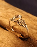 Unset Silver Ring Setting For 6x4 Stone