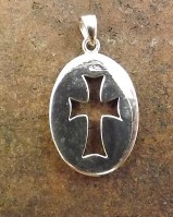 Silver Double Sidded Pendant With cross Cut out For 25x18
