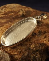 Silver Oval Solid Back Unset Pendant Resin Or 28x14