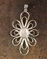 Silver flower Pendant To Take 11.5x9mm  Cabochon