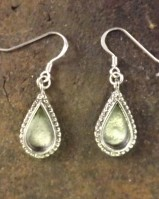 Silver bead  Pear Shaped Ear Drops Setting For 12x8