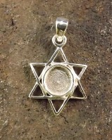 Silver Star Of David Pendant To Fit 6mm Stone Cabochon