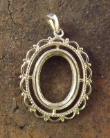 Silver rope  Frill And Bead Pendant Setting 18x13