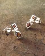Faceted Garnet Silver Stud Earrings