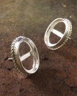 Silver Rope Edge Ear stud Setting For Cabochons.also In Gold