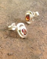 Silver Faceted Garnet Stud Earring