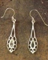 Silver Frill Drop Earring For Setting 9x5 Stone