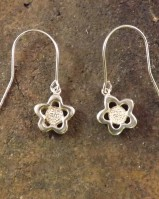 Silver Daisy Drop Earrings Mount For 5mm Cabochon