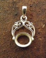 Silver Pendant Fob Setting  Mount To Set 10x8 Stone