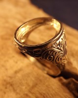 Engraved Signet Ring Unset For 16x12 Cabochon