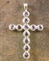 Large Silver Amethyst  Cross