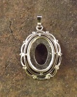 Silver Frill And Bead Pendant Setting For 14x10 Cabochon