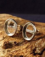 Plain Edge Silver Stud Earring For Cabochons.also In Gold (for 10x8,8x6 Cabs)