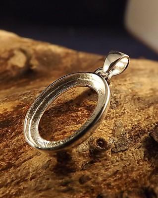 Silver Pendant Bezel For Cabochons