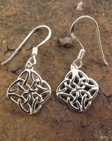 Plain Diamond  Silver Celtic Drops