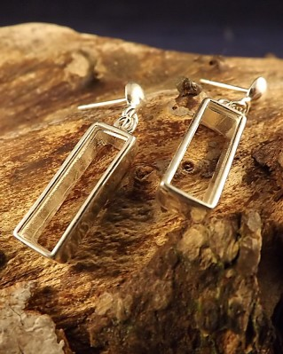 Silver Drop Earring Mounts For 18x5 Rectangular Stone