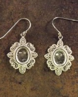 Silver Filigree Eardrops For 10x8 Cabochone