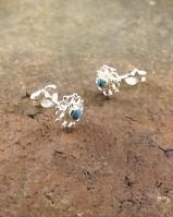 Silver Filagree Stone Set Stud Earrings