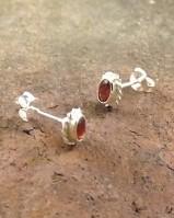 Amethyst Or Garnet Silver Studs