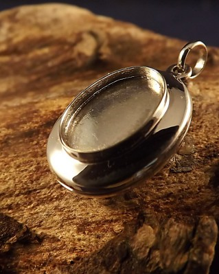 Unset Silver Locket Setting For 14x10 Stone